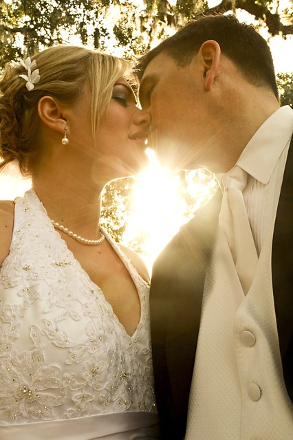 Bride, Groom, Wedding, Marriage, Love, Kiss