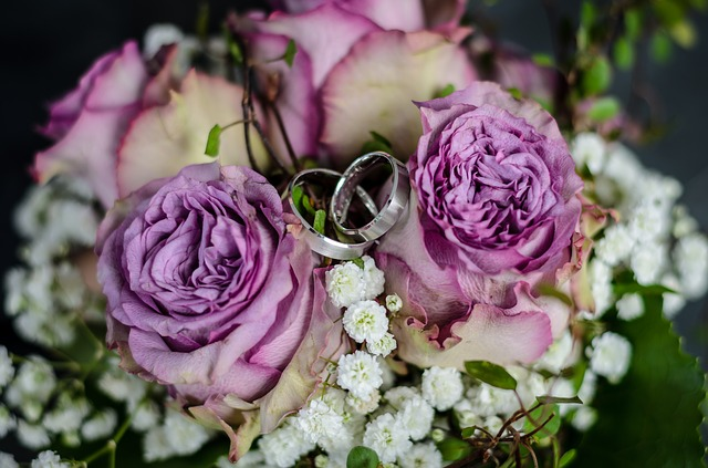 Wedding, Rings, Bridal Bouquet, Wedding Rings, Together