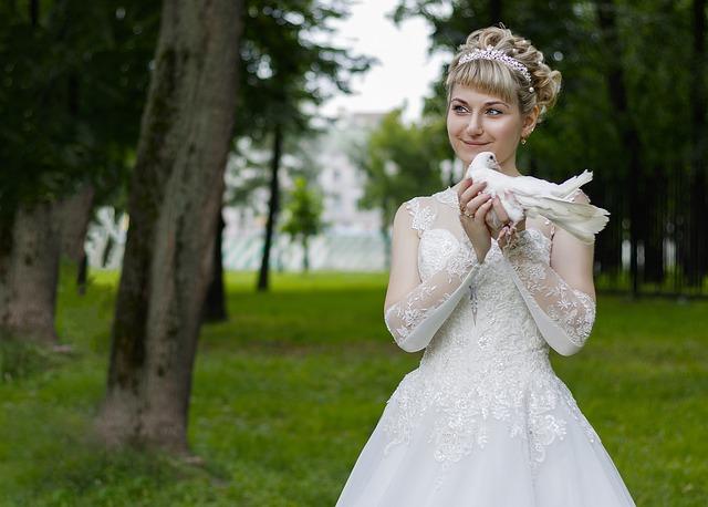 Wedding, Bride, Woman, Dress, Smile, White, Green