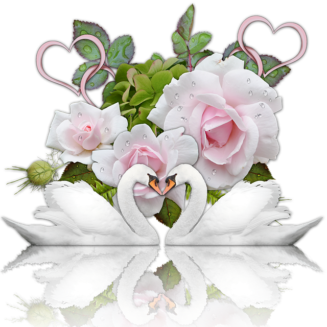 Wedding, Romance, Heart, Swans, Roses, Scrapbooking