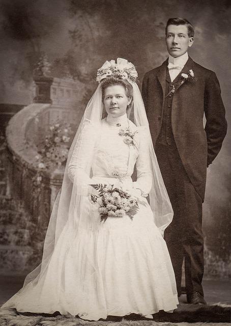 Bride, Groom, Wedding, Vintage, Retro