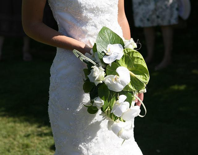 Wedding, Bride, Bouquet, Wedding Dress