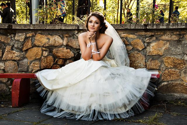 Bride, White Dress, Wedding, Bench