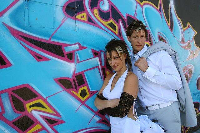 Young Couple, Wedding, Street Art