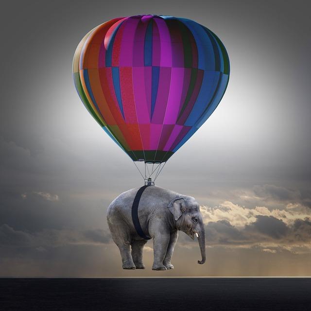 Elephant, Weightless, Balloon, Hot Air Balloon Ride
