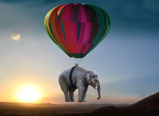 Elephant, Sunset, Steppe, Balloon, Weightless, Ease