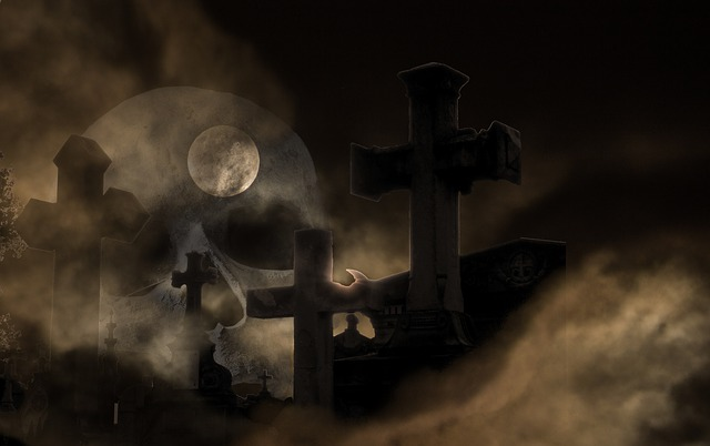 Cemetery, Skull And Crossbones, Fog, Weird, Skull