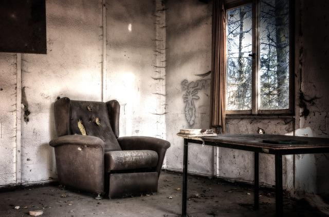 Lost Places, Room, Chair, Leave, Gloomy, Dark, Weird