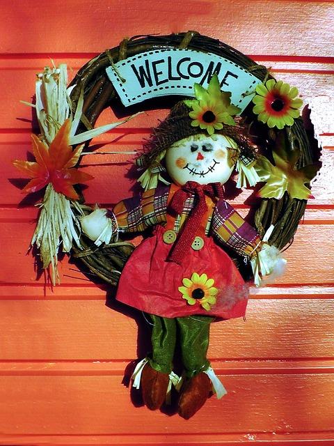 Fig, Welcome, Garden Door, Shield, Colorful
