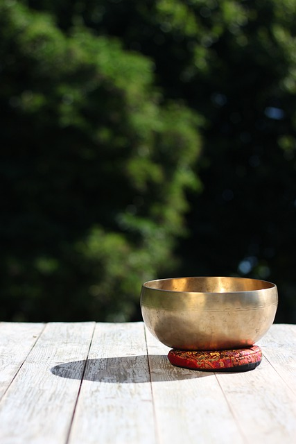 Singing Bowl, Shell, Gold, Wood, Oriental, Wellness