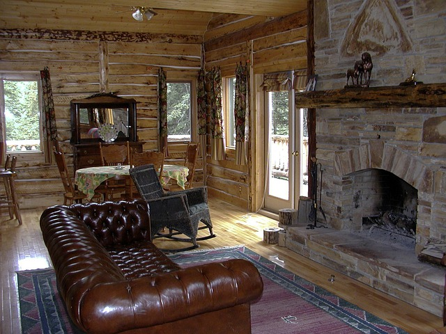 Western, Country Style, Fireplace, Log Cabin, Interior