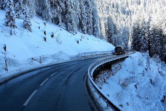 Highway, In, Shadows, Wet Asphalt, Snow, Frost, Bend