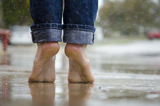 Barefoot, Feet, Macro, Outdoors, Rain, Water, Wet