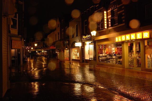 Night, Dark, Lamp, Saint Nicholas, Wet, Rain, Lighting