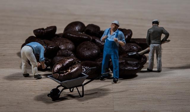 Worker, Coffee, Coffee Beans, Café, Wheelbarrow
