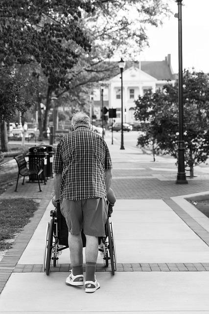 People, Street, Adult, Man, Elderly, Wheelchair