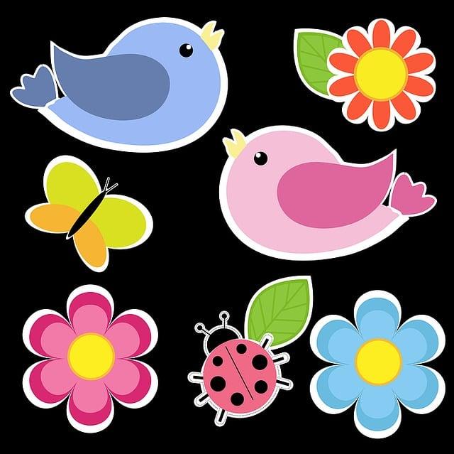 Birds, Butterfly, Flowers, Cute, Cartoon, Whimsy