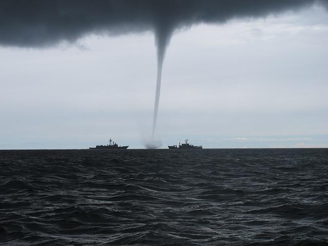 Tornado, Whirlwind, The Baltic Sea, Warship, Storm