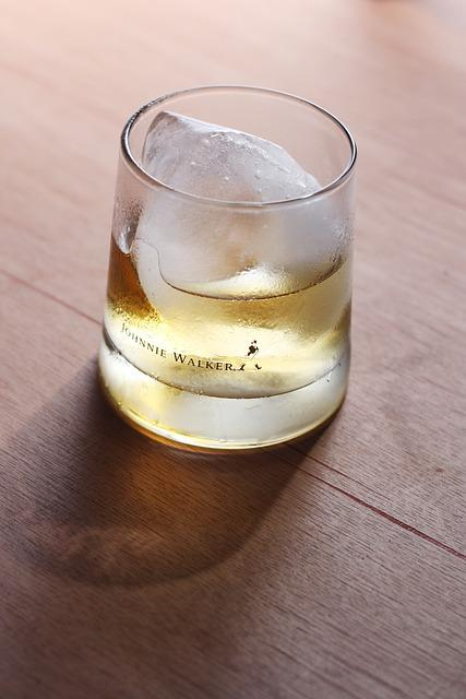 Glass, Ice, Whiskey, Whisky, Johnnie Walker