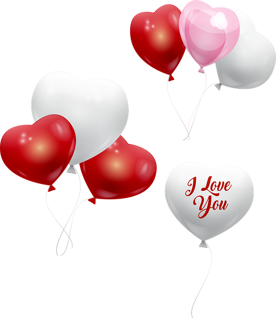 Valentine Balloons, Heart Balloons, Red, White And Pink