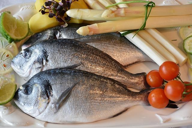 Fish, Sea Bream, Asparagus, White Asparagus, Raw