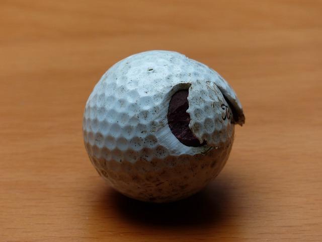 Golf Ball, Golf, Ball, White, Broken, Battered, Saji