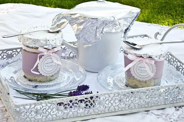 Lavender, Cup, Tablecloth, Lifestyle, Blue, White, Tray