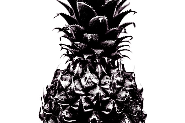 Pineapple, Isolated, Bw, Fresh, Fruit, White