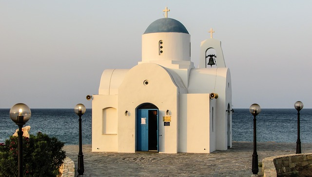 Church, White, Blue, Summer, Cyprus, Religion