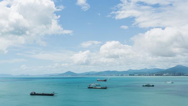 Sea, Ship, Blue Sky, White Cloud, Mountain, Sunny Days