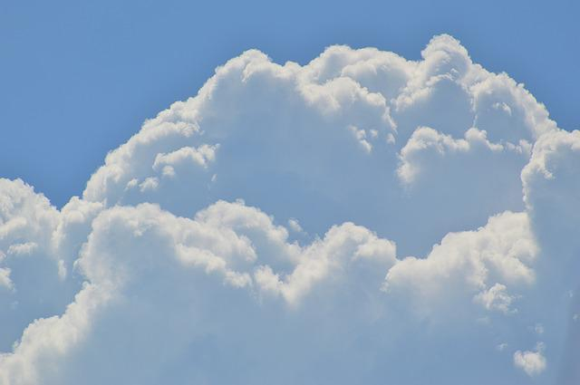 Cumulus Clouds, Sky, White, Blue, Clouds, Sun