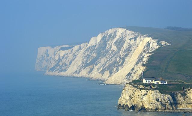 Isle Of Wight, Cliff, Sea, Sky, White, Chalk, Coast