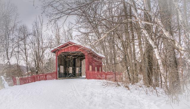 Covered Bridge, Winter, Vermont, Snow, Nature, White