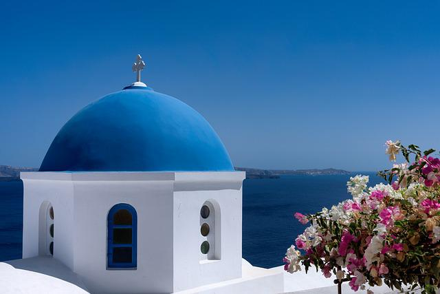Santorini, Blue, Dome, Island, Greece, Travel, White