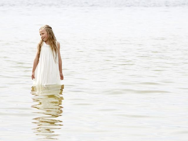 Dress, Girl, Standing, Summer, Sun, Water, White