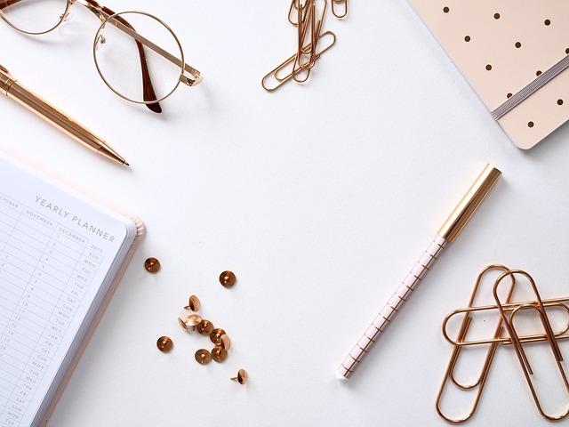 Desktop, White, Flatlay, Office, Design, Notebook