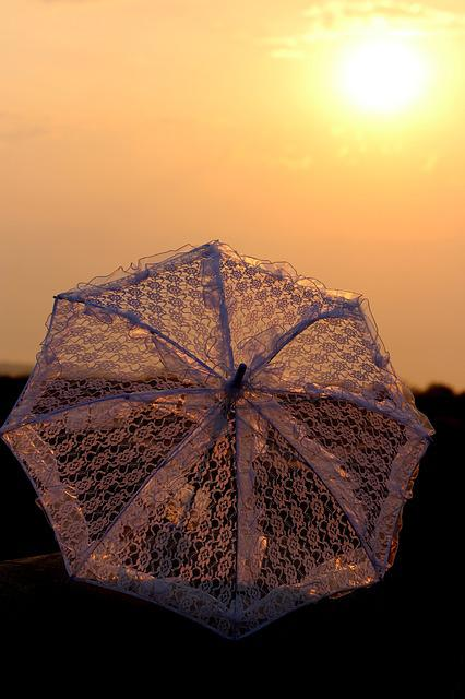 Sunrise, Umbrella, Lace, White