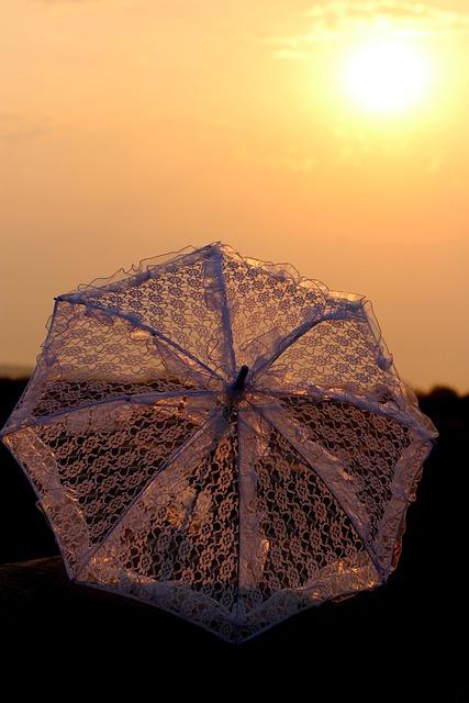 Sunrise, Umbrella, Lace, White