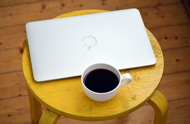 Laptop, Computer, Coffee, Yellow, Stool, White