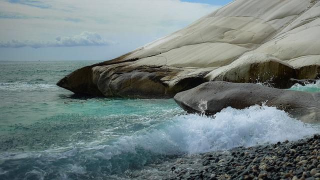 Pebble Beach, Nature, Sea, Rock, White, Landscape, Sky
