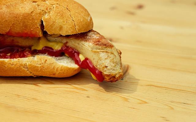 Bratwurst, Sausage, White, Roll, Mustard, Ketchup