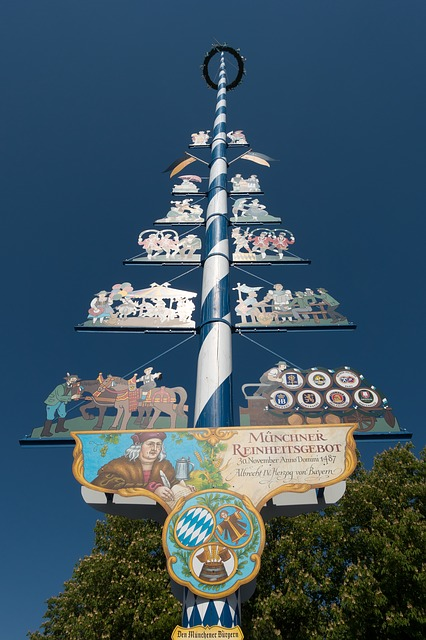 Maypole, Blue, White, Bavaria, Tradition, Spring, Sky