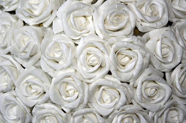 Roses, White, Table Decoration, Floral Arrangement