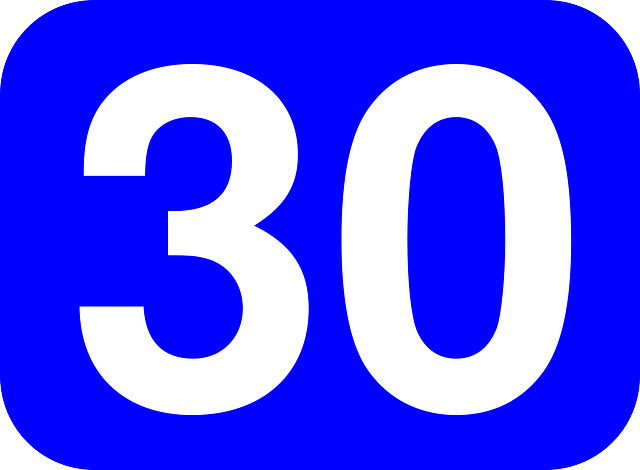 Number, Thirty, Rounded, Rectangle, Blue, White, Colors