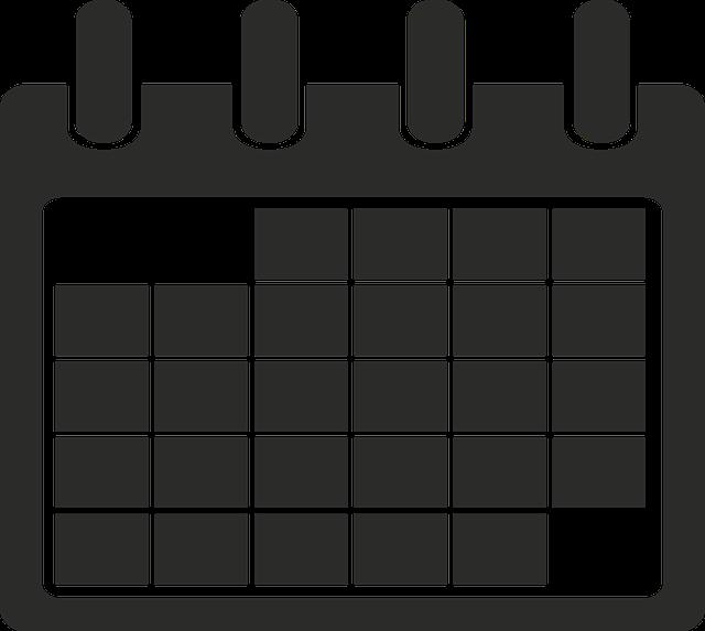 Calendar, Icon, Minimalist, Time, Black, White