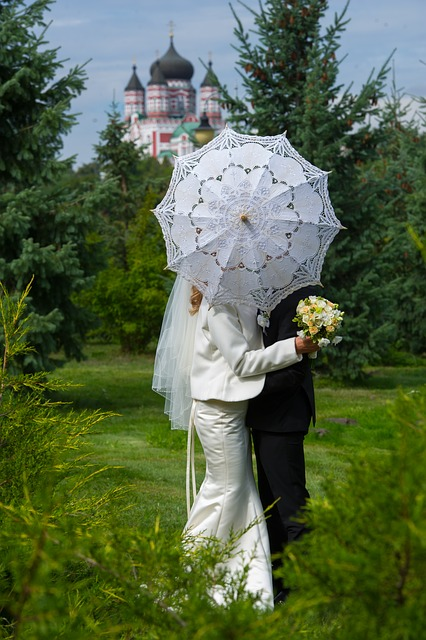 Umbrella, White Umbrella, Wedding, Park, Bouquet, Trees