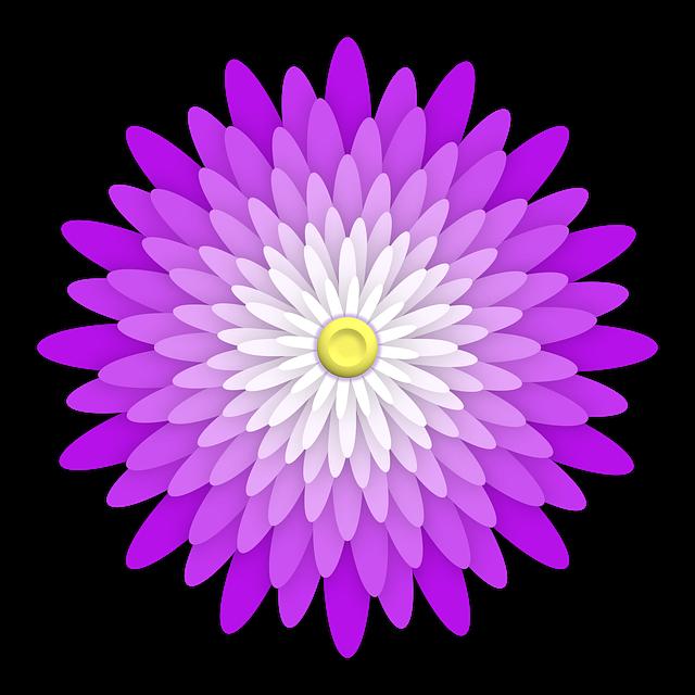 Flower, Ornament, Purple, Violet, Plum, White, Yellow