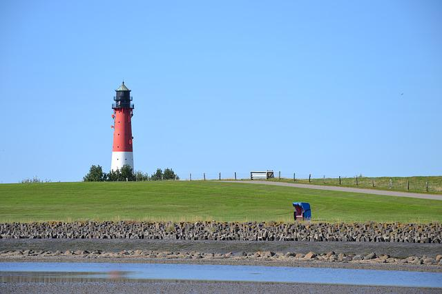 Blue, Red, White, Green, Lighthouse, Wadden Sea
