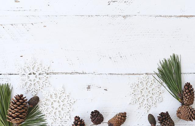 White Wood, Desk, Winter, Christmas, Flatlay, Pine Cone