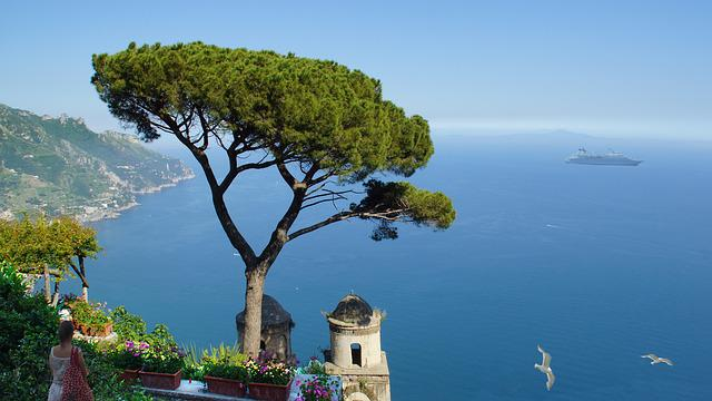 Italy, Amalfi Coast, Ravella, Garden, Sea View, Wide